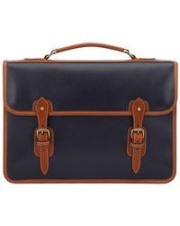 Tusting Navy Atlantic Leather Wymington 2 Bellow Satchel Briefcase - Blue