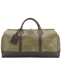 Tusting Lichen Waxed Canvas And Leather Medium Weekender Holdall - Brown