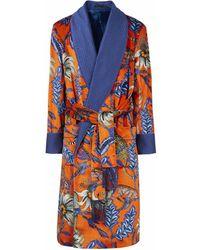 New & Lingwood Orange Monkey Pattern Lined Velvet Dressing Gown - Multicolor