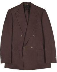 Chester Barrie - Kingly Brown Double-breasted Linen Jacket - Lyst