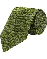 New & Lingwood - Olive Silk Maze Print Tie - Lyst