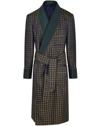 New & Lingwood Navy And Yellow Jacquard Square Lined Silk Gown - Blue