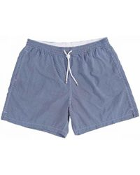 Anderson & Sheppard Navy And White Chequered Swim Shorts - Blue