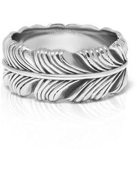 Nialaya Vintage Silver-finished Stainless Steel Feather Ring - Metallic