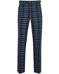New & Lingwood - Blue And Charcoal Crom Tartan Wool Trousers - Lyst