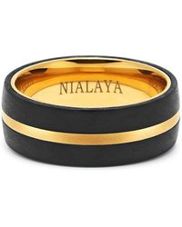 Nialaya - Black Carbon Fibre And 18k Gold-finished Titanium Ring - Lyst