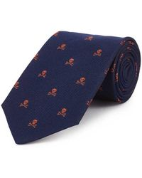 New & Lingwood - Navy And Orange Skull And Crossbones Print Silk Tie - Lyst