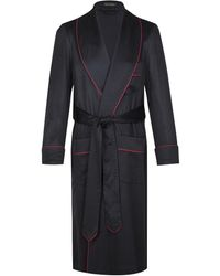 New & Lingwood Navy Cashmere Dressing Gown - Blue