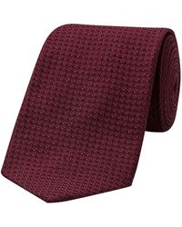 Budd Shirtmakers Burgundy Silk Grenadine Piccola Tie - Purple