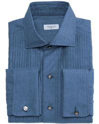 Marol Full Studded Denim Tuxedo Shirt - Blue
