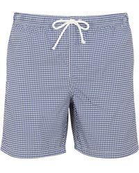 Anderson & Sheppard Dark Blue Houndstooth Swim Shorts