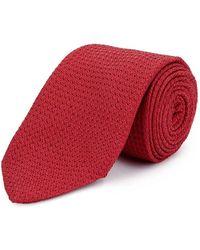 New & Lingwood - Red Grenadine Weave Silk Tie - Lyst