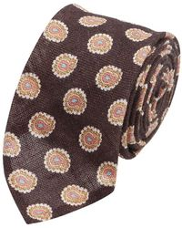 Salvatore Piccolo Brown Paisley Patterned Silk Tie