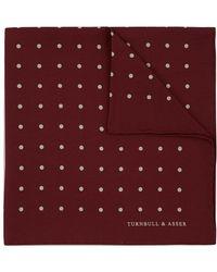 Turnbull & Asser Burgundy Spot Silk Pocket Square - Purple