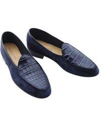 Baudoin & Lange | Navy Alligator Loafers | Lyst