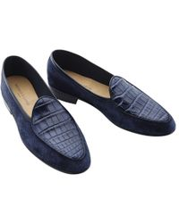 Baudoin & Lange - Navy Suede And Lizard Loafers - Lyst