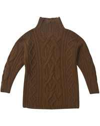 CONNOLLY - Brown Cashmere Chunky Aran Knit Jumper - Lyst
