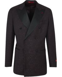 Isaia - Burgundy Wool Paisley Brocade Double Breasted Dinner Jacket - Lyst