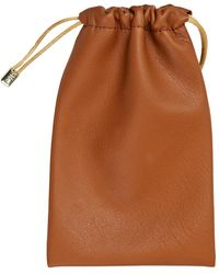 Stow Sahara Tan Leather Accessories Pouch - Brown