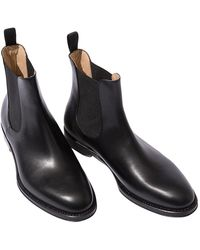SCAROSSO Cooper Black Leather Chelsea Boots