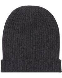 Anderson & Sheppard - Charcoal Cashmere Ribbed Beanie - Lyst