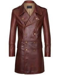 Cromford Leather Company - Brown Eastwood Double Breasted Leather Coat - Lyst