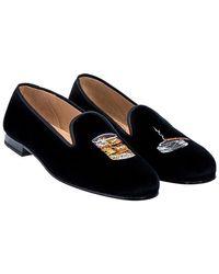 Stubbs & Wootton Black Embroidered Scotch Velvet Slippers