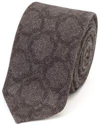 Salvatore Piccolo Dark Gray Circle Pattern Wool Tie