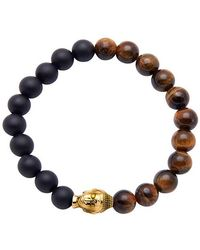 Nialaya - Bracelet With Tiger Eye, Matte Onyx And Gold Buddha - Lyst