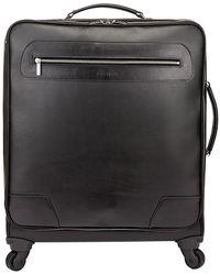 Tusting Black Leather Wheeled Goldington Suitcase