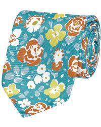 Salvatore Piccolo Flower Pattern Silk Tie - Blue