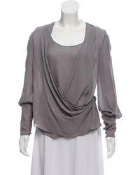 Wes Gordon - Silk Long Sleeve Blouse Grey - Lyst