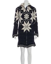 Sacai - Knee-length Wool Coat Navy - Lyst