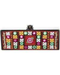 Edie Parker - Flavia Panel Embroidery Clutch - Lyst