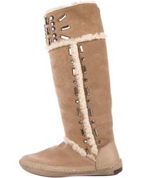 877f6209985 Lyst - Tory Burch Gigi Quilted Boots in Brown