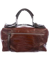 Dries Van Noten - Embossed Leather Tote Brown - Lyst