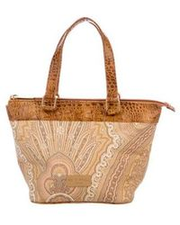 Etro - Leather-trimmed Paisley Tote Tan - Lyst