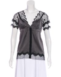 John Galliano - Lace-accented Satin Blouse Grey - Lyst