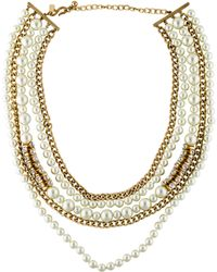 Kenneth Jay Lane - Faux Pearl & Crystal Multistrand Necklace Gold - Lyst