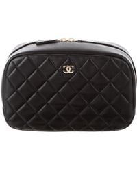 Chanel - 2016 Quilted Lambskin Cosmetic Case Black - Lyst