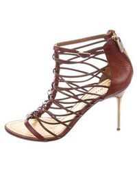 Emilio Pucci - Leather Mid-heel Sandals Brown - Lyst