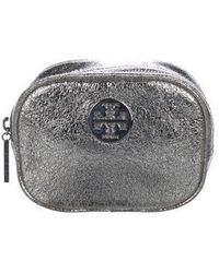 Tory Burch - Leather Cosmetic Bag Silver - Lyst