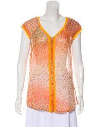 Class Roberto Cavalli - Silk Printed Short Sleeve Top Orange - Lyst
