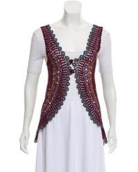 Philosophy di Alberta Ferretti - Crocheted Open-front Vest Plum - Lyst