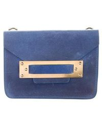 Sophie Hulme - Leather Flap Clutch Blue - Lyst
