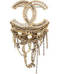 Lyst - Chanel Pearl   Crystal Gripoix Brooch Gold in Metallic 535ca5da916