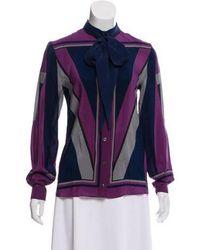 Alexis Mabille - Silk Long Sleeve Top Purple - Lyst