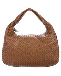 bdd1de556b60 Lyst - Bottega Veneta Leather Intrecciato Hobo Brown in Metallic