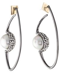 Alexis Bittar - Floating Faux Pearl Hoop Earrings Gold - Lyst