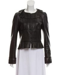 Chanel - Leather Pleated Jacket - Lyst